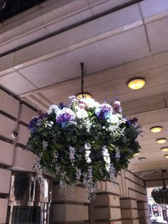 Hanging baskets are a great way to add colour & flower to a building entrance (and these are artificial!)