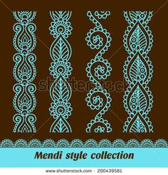 Ornamental seamless borders. Vector set with abstract floral elements in indian style. Mendi collection - stock vector