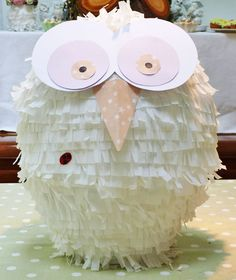Amelie's House: How-to-make an owl pinata.. pretty perfect shape for a mike monster!!!