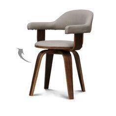 Chaise suédoise scandinave pivotante simili-cuir taupe et bois brun Lulu