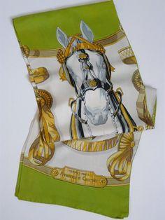 Authentic Vintage Hermes Silk Opera Shawl Frontaux et Cocardes 30 x 180 cm