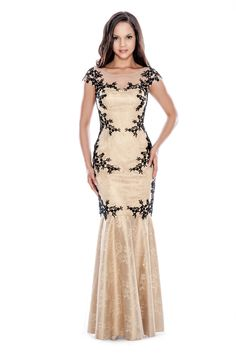 Honey/Black Floral Embellished Gown by Decode 1.8 #fashion #bridesmaid #motherofthebride #mob #wedding #decode18 #evening #dress #mermaid #redcarpet
