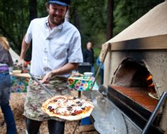 Wood fired pizza is always a must for outdoor camp weddings.