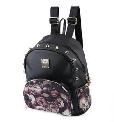 Cute School Mini Floral Printing Leather Backpack For Teen age Girls