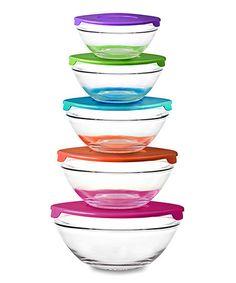 Purple & Green Five-Piece Glass Bowl Set #zulily #zulilyfinds