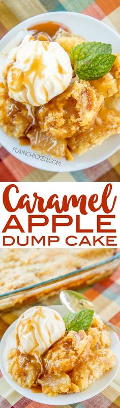 Caramel Apple Dump Cake - tastes like Fall Y'all! With only 4 simple ingredients, you can't go wrong with this easy dessert recipe! Great for a crowd. Serve warm with some vanilla ice cream or fresh whipped cream. I never have any leftovers! A real crowd Desserts For A Crowd, Apple Desserts, Party Desserts, Apple Recipes, Just Desserts, Baking Recipes, Sweet Recipes, Delicious Desserts, Yummy Food