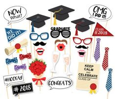 30PCS Style 2018 Graduation Party Masks Photo Booth Props Mustache On A Stick Grad Party by 7-gost