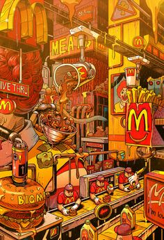 Supersize Them: Fast Food Illustrations by Mr. Misang Supersize Them: Fast Food Illustrationen von Mr. Misang & Inspiration Grid & Design Inspiration The post Supersize Them: Fast-Food-Illustrationen von Mr. Misang & Art appeared first on Food . Pop Art Wallpaper, Trippy Wallpaper, Food Wallpaper, Cartoon Wallpaper, Artistic Wallpaper, Aesthetic Art, Aesthetic Anime, Aesthetic Iphone Wallpaper, Aesthetic Wallpapers
