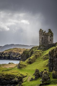 Gylen Castle on the island of Kerrera, Argyll and Bute, Scotland. Built in 1582 CE, Gylen Castle was once home to members of Clan MacDougalll. It was occupied only for a short period of time, until it was sacked in 1647 CE by Covenanter General David Le Scotland Castles, Scottish Castles, Ireland Castles, Oban Scotland, Beautiful Castles, Beautiful Places, The Places Youll Go, Places To Go, Castle Ruins