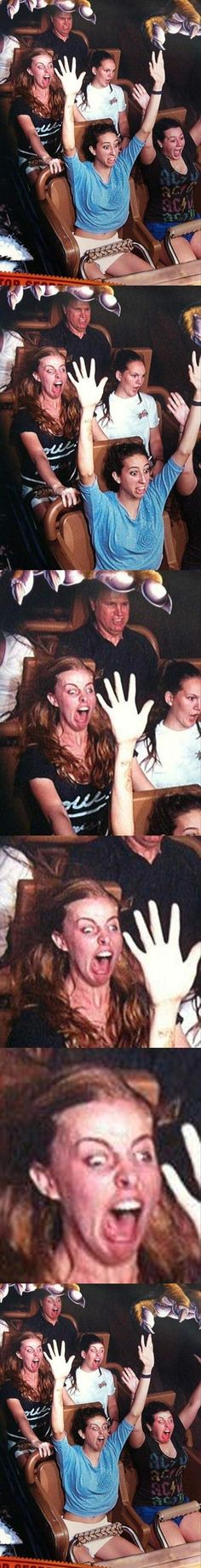Funny roller coaster pictures. I'm seriously crying I'm laughing so hard.... the girl in the black omg.