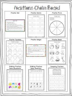 Fractions Choice Board Math Literacy, Homeschool Math, Math Classroom, Teaching Math, Maths, Numeracy, Teaching Ideas, Classroom Ideas, 3rd Grade Fractions