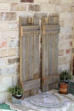 Doug & Cristy Designs Natural Reclaimed Wood Farmhouse Shutters - Set of Two Decor, Shutters Exterior, Wood, Hobby House, Rustic Decor, Farmhouse Shutters, Home Decor, Barn Wood Projects, Decorating Your Home