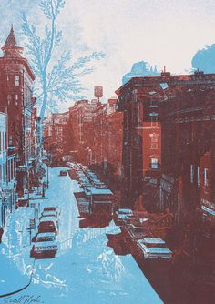 Bronx with a Ruin    lithograph by Scott Hyde, 1970