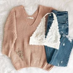 New arrivals Orabelle Knit Sweater Gemma Halter Bralette & Zahara Distresse Cute Comfy Outfits, Cute Outfits For School, Teenage Outfits, Teen Fashion Outfits, Cute Casual Outfits, Mode Outfits, Outfits For Teens, Girl Outfits, Simple College Outfits