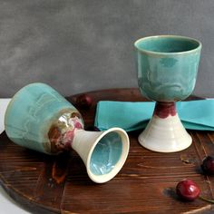 2 Ceramic Wine glasses in Turquoise Sunset from Lee Wolfe Pottery