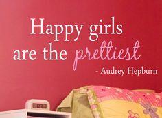 Audrey Hepburn Happy Girls Are Vinyl Wall Decal - Children/Teen Vinyl Wall Art - Bedroom Vinyl Lettering