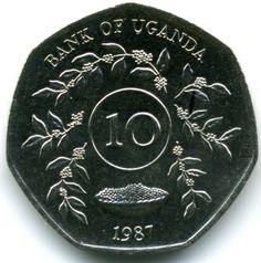 10 Shilling #Uganda - 1987 Raffigura lo stemma dello Stato, dove compare l'antilope, che con un solo balzo raggiunge i 15  metri.