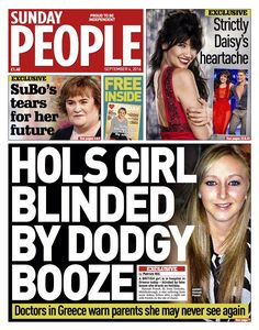 """""""Sunday People front page: Hols girl blinded by dodgy booze Greece Today, Sunday People, Doctor In, News Online, Bbc News, September"""