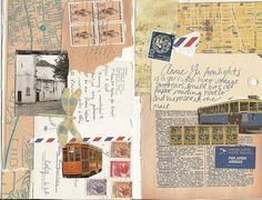 stamps. envelopes, pieces of maps, dictionery pages, old photographs...