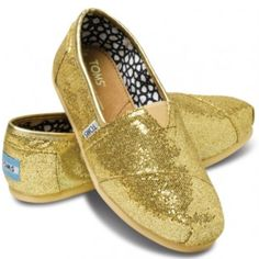 Sparkly gold TOMS