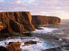 Eshaness Cliffs and Lighthouse, Shetland Islands, Scotland, UK.