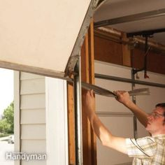 Make weather-tight garage door seals, replace rotted trim with maintenance-free vinyl and clean up a rusty track. Do it yourself and save a bundle. Garage Door Bottom Seal, Garage Door Track, Wood Garage Doors, Old Garage, Garage Parking, Garage Attic, Garage Door Insulation, Garage Door Repair, Garage Door Weather Stripping