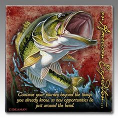 Largemouth Bass Set of Four Square Absorbent Stone Coasters  For  $17.99