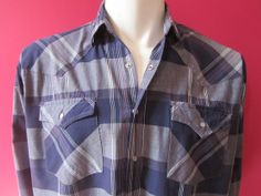 Mens LARGE cowboy shirt Western Plains vintage navy plaid by Vintrowear, $25.00