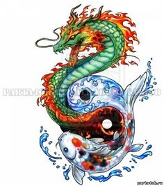 Цветной эскиз тату дракон и сом