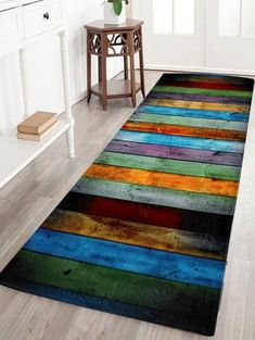 Coral Velvet Colorful Stripe Large Area Rug - COLORMIX W24 INCH * L71 INCH