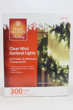 The Jolly Christmas Shop -  18' Clear Garland Lights, $14.99 (http://www.thejollychristmasshop.com/18-clear-garland-lights/)