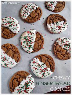 Jam Hands: White Chocolate Dipped Chewy Gingerbread Cookies Gingerbread cookies are a holiday staple as far as I am concerned. I sweetened things up a bit by dipping the cookies in melted white almond bark an… Köstliche Desserts, Holiday Desserts, Holiday Baking, Holiday Treats, Holiday Recipes, Delicious Desserts, Family Recipes, Chewy Gingerbread Cookies, Holiday Cookies