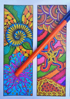 Printable Zentangle Bookmarks - Coloring Page - Zentangle Inspired Bookmarks - Digital Download - Bookmark Number 2. $3.25, via Etsy.