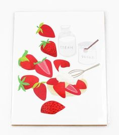 Original illustration of the sweetest, most summery dessert out there: Strawberry Shortcake! $20