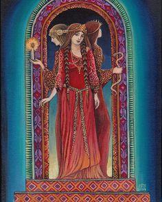 """""""Hecate"""" - Painting by Emily Balivet """"Hecate"""" - Pintura by Emily Balivet.  Hecate, la madre de todas las brujas,  cuyo nombre significa literalmente """"la distante"""", es la diosa de las horas oscuras y está normalmente asociada con el aspecto de anciana de la triple diosa."""
