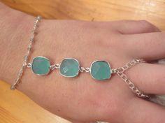 Aqua blue three stone hand bracelet/ slave by PanachebyAmanda, $37.20