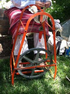 Columbine metal spinning wheel - a purple one is on my wish list Spinning Wool, Spinning Wheels, Dyeing Yarn, Drop Spindle, Great Hobbies, Handicraft, Fiber Art, Loom, Weave