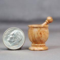 https://flic.kr/p/9j987E | Dollhouse Miniature Turning Mortar & Pestle | Mini turned from Black Cherry