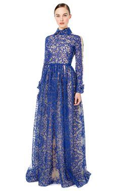 Shop Lace Embroidered Gown With Collar by Valentino for Preorder on Moda Operandi