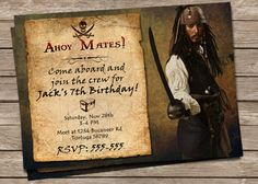 New to PrintzNThings on Etsy: Pirates of the Caribbean Birthday Invitation Captain Jack Sparrow Disney Pirates Birthday Invite Etsy 5x7 Printable Instant Download Pirate (3.99 USD)