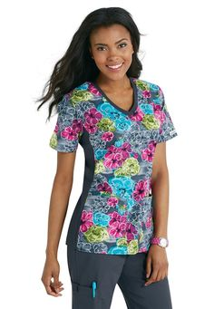 Cherokee Flexibles Watercolor Wonder v-neck print scrub top | Scrubs and Beyond
