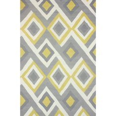 Quality meets value in this beautiful modern area rug. Hand-hooked with polyester to prevent shedding, this plush area rug will enhance any home decor. Grey and yellow rug