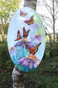 Monarch Butterflies on Echinacea flowers- Oval Outdoor Art, Aluminium and acrylic panel, totally weatherproof, steam proof, Garden or Patio by KiwiSilks on Etsy Inside Art, Acrylic Panels, Silver Paint, Color Blending, Outdoor Art, Monarch Butterfly, Silk Painting, Online Gifts, Butterflies