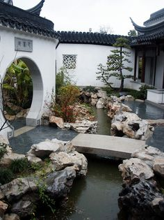 Part of a zen garden path that leads to the pool area