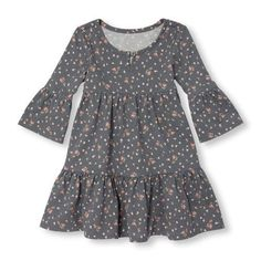 Toddler Girls Elbow Flared Sleeve Floral Print Tiered Knit Dress – Zinaida Shagova – Join in the world of pin Toddler Girl Outfits, Little Girl Dresses, Toddler Dress, Kids Outfits, Girls Dresses, Toddler Girls, Baby Outfits, Baby Girls, Long Dresses
