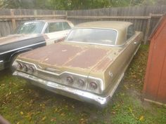 This 1963 Chevy Impala looks to be one of the special anniversary gold editions built that year. It needs restoring and may be a viable project. #Chevrolet, #Impala