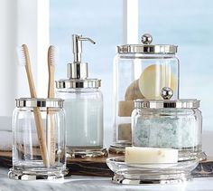 buy two soap dispensers, one for vanity tray and one for other vanity ...Holden Bath Accessories #potterybarn
