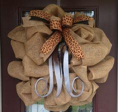 Burlap Wreath w/ metal Initial