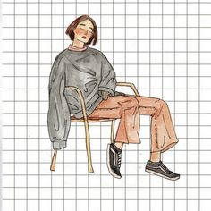 #soft #aesthetic #girl #hipster #grid #watercolor #watercolour #aestetic #illustration #drawing #painting #folk #style #fashion #simple #pastel #tumblr #weheartit