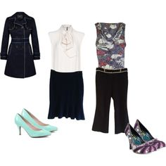 """What I wore to work this week - """"Mint, Navy & Cream / Black, Cream & Purple"""" by certainstyle on Polyvore"""